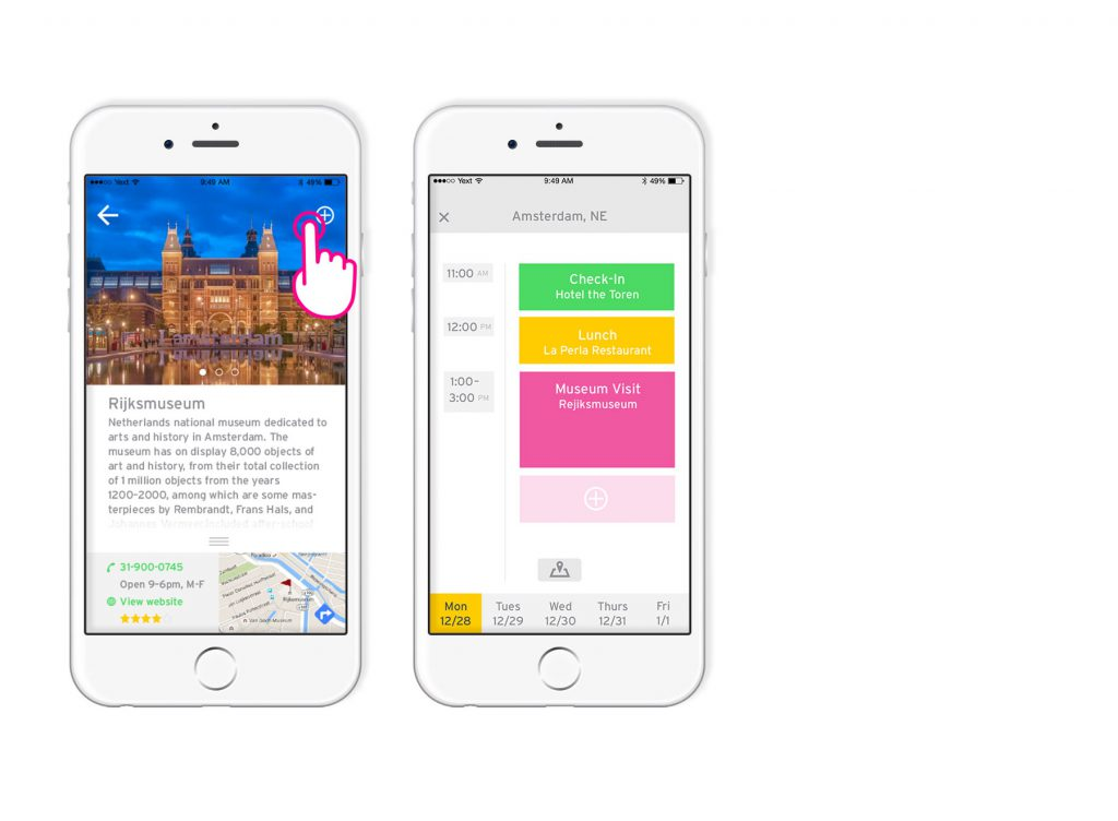 Rijksmuseum page screen followed by updated itinerary screen with museum visit added