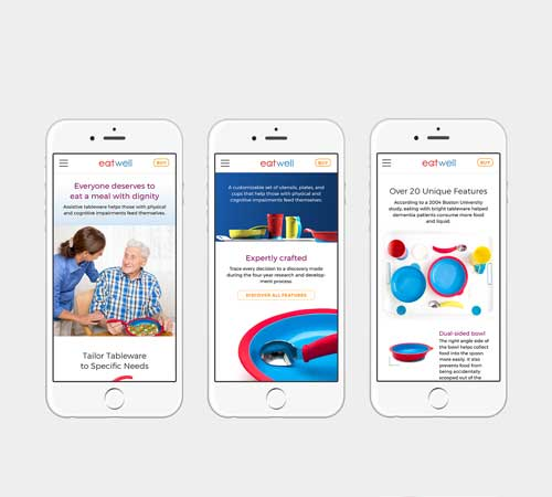 Three mobile website screen shots shown on iPhone
