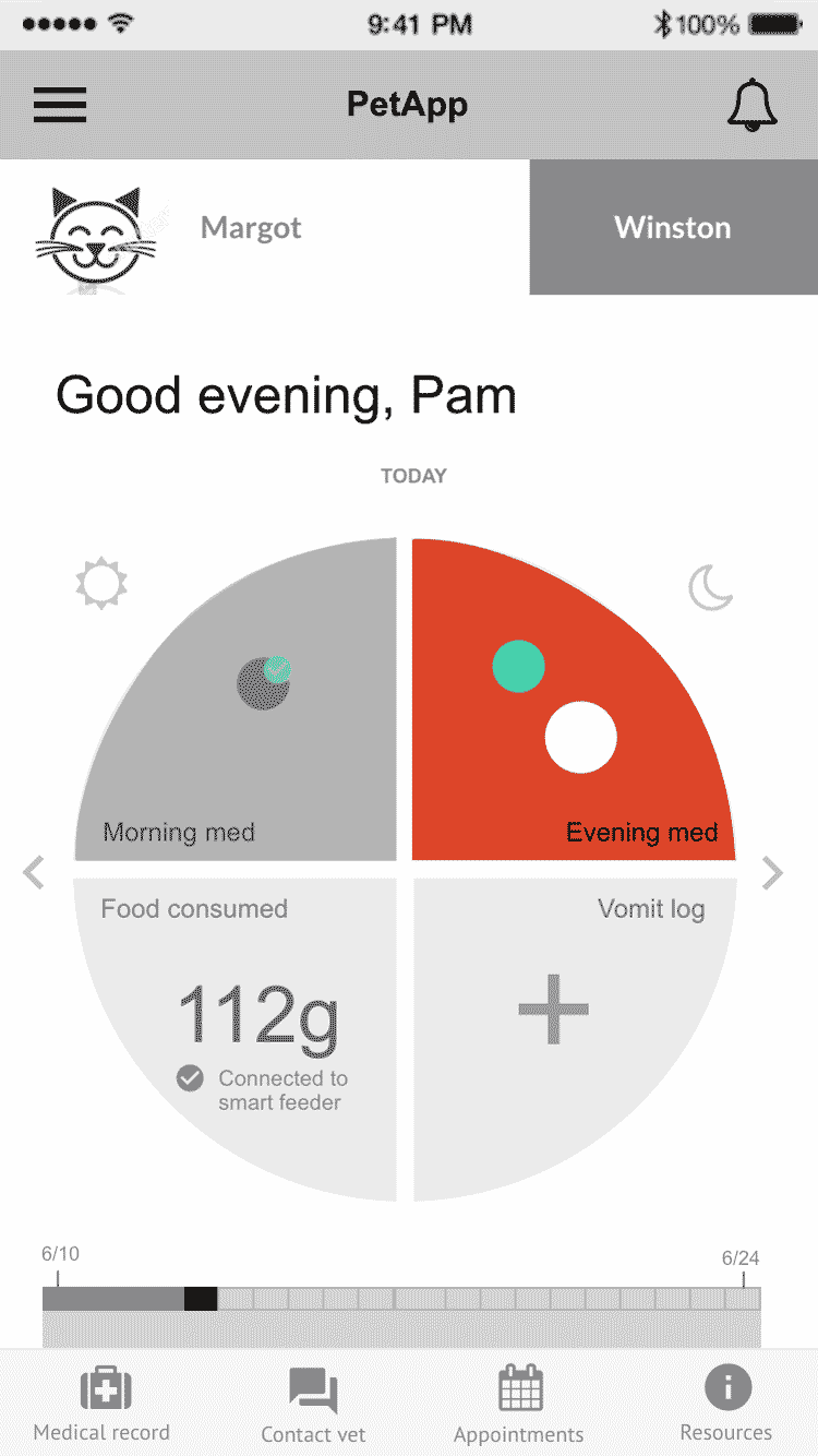 Low fidelity wireframe of Pam's tasks screen with one task completed